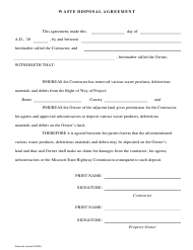"""Waste Disposal Agreement Form"" - Missouri"