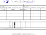 """""""Thermoplastic Pipe Shipping Report Form"""" - Missouri"""