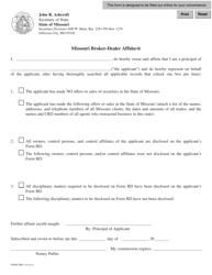 "Form SBD-1 ""Missouri Broker-Dealer Affidavit"" - Missouri"