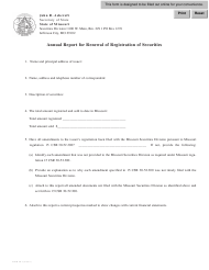 """Form Sr-2 """"Annual Report for Renewal of Registration of Securities"""" - Missouri"""