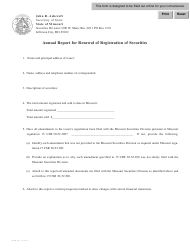 Form SR-2 Annual Report for Renewal of Registration of Securities - Missouri