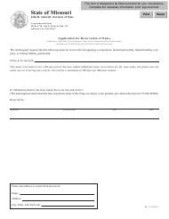 "Form BE-1 ""Application for Reservation of Name"" - Missouri"