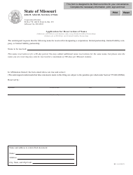 Form BE-1 Application for Reservation of Name - Missouri
