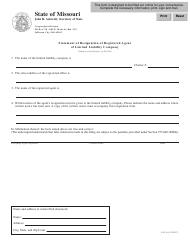 "Form LLC-6 ""Statement of Resignation of Registered Agent of Limited Liability Company"" - Missouri"