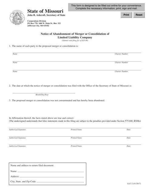 Form LLC-2  Printable Pdf