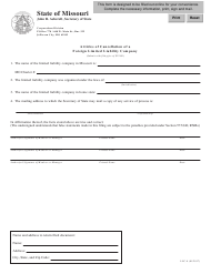 "Form LLC-8 ""Articles of Cancellation of a Foreign Limited Liability Company"" - Missouri"