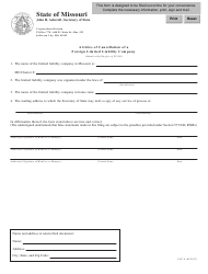 Form LLC-8 Articles of Cancellation of a Foreign Limited Liability Company - Missouri