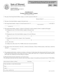 "Form LLC-14 ""Amendment of a Foreign Limited Liability Company"" - Missouri"