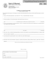 "Form LP-41 ""Certificate of Limited Partnership"" - Missouri"