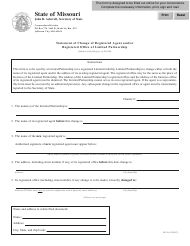 """Form Lp-9 """"Statement of Change of Registered Agent and/Or Registered Office of Limited Partnership"""" - Missouri"""