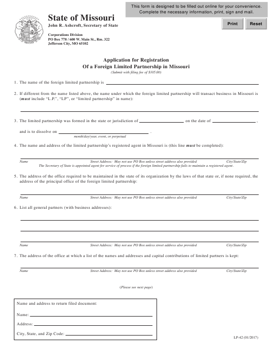 Form LP-42 Printable Pdf