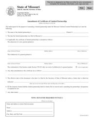"Form LP-44 ""Amendment of Certificate of Limited Partnership"" - Missouri"