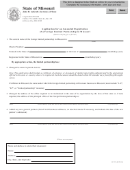 """Form LP-22 """"Application for an Amended Registration of a Foreign Limited Partnership in Missouri"""" - Missouri"""