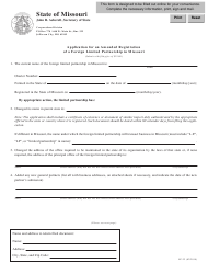 Form LP-22 Application for an Amended Registration of a Foreign Limited Partnership in Missouri - Missouri