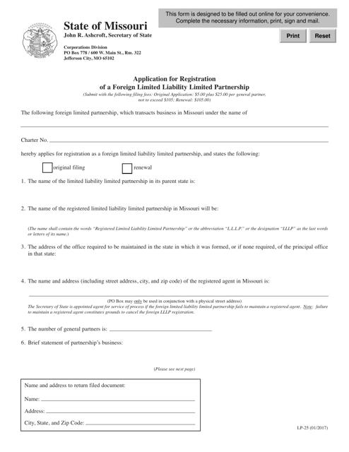 Form LP-25 Fillable Pdf