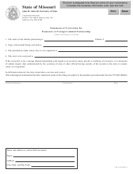 """Form LP-11 """"Statement of Correction for Domestic or Foreign Limited Partnership"""" - Missouri"""
