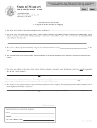 Form LLC-4A Attachment for Series of a Foreign Limited Liability Company - Missouri