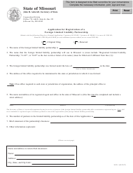 "Form LLP-1 ""Application for Registration of a Foreign Limited Liability Partnership"" - Missouri"
