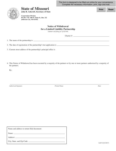 Form LLP-8  Printable Pdf