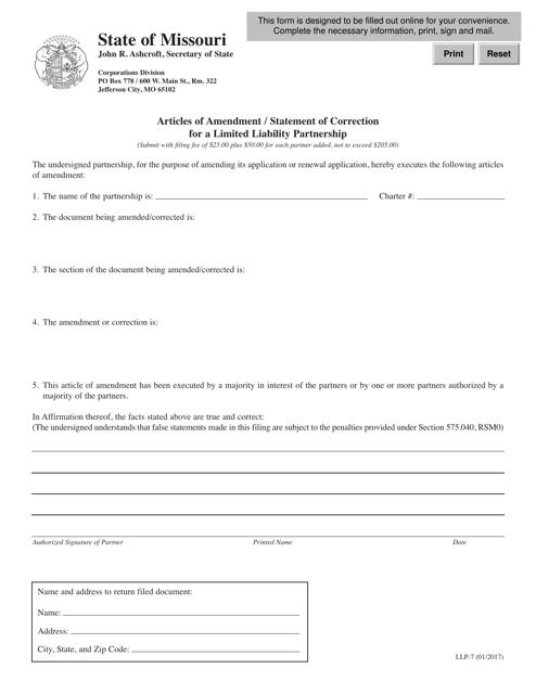 Form LLP-7  Printable Pdf