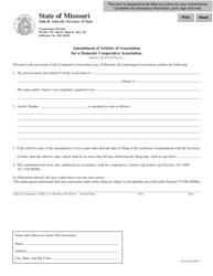 Form CA 44 Amendment of Articles of Association for a Domestic Cooperative Association - Missouri