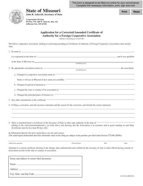 Form CA 52A Fillable Pdf
