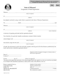 "Form TMSM30 ""Assignment of Mark Registration"" - Missouri"