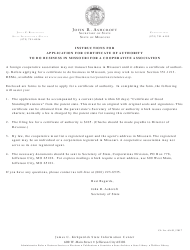 Form CA 42 Application for Certificate of Authority for a Foreign Cooperative Association - Missouri