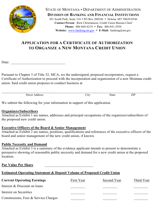 """""""Application for a Certificate of Authorization to Organize a New Montana Credit Union"""" - Montana Download Pdf"""