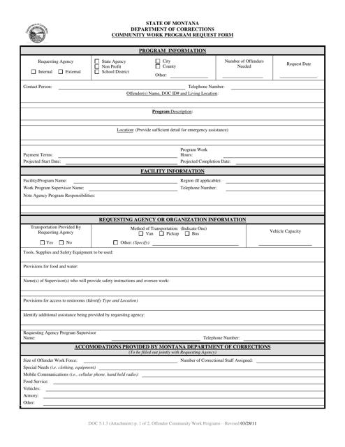 """Community Work Program Request Form"" - Montana Download Pdf"