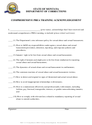 """Comprehensive Prea Training Acknowledgement Form"" - Montana"