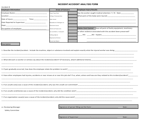 """""""Incident/Accident Analysis Form"""" - Montana Download Pdf"""