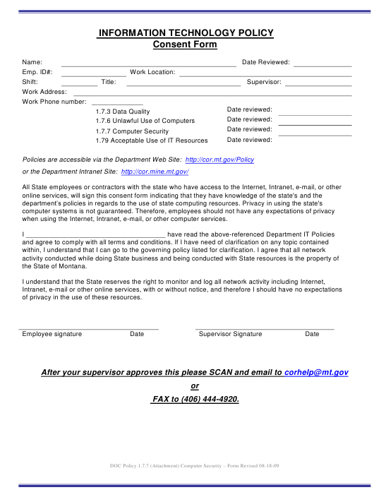 """""""Information Technology Policy Consent Form"""" - Montana Download Pdf"""