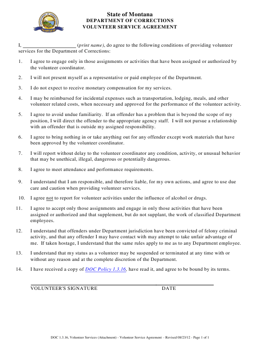 Volunteer Service Agreement Form - Montana Download Pdf