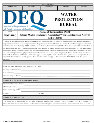 """Form NOT-SWC """"Notice of Termination for Storm Water Discharges Associated With Construction Activity (Mtr100000)"""" - Montana"""