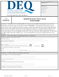 "Form MTR1W ""Rainfall Erosivity Waiver Form (Mtr1w0000)"" - Montana"