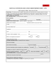 """Form ATP4 """"Montana Continuing Education Credit Report Form"""" - Montana"""