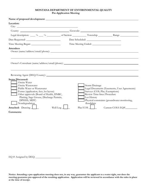"""Pre-application Meeting Form"" - Montana Download Pdf"