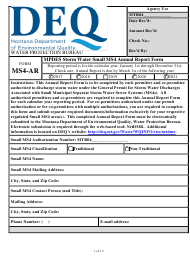 "Form MS4-AR ""Mpdes Storm Water Small Ms4 Annual Report Form"" - Montana"