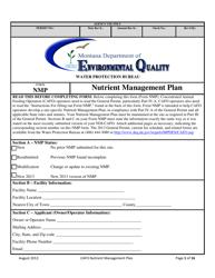"Form NMP ""Nutrient Management Plan"" - Montana"