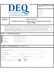 "Form NOI-77 ""Notice of Intent - Disinfected Water and Hydrostatic Testing General Permit (Mtg770000)"" - Montana"
