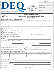 """Form NOI-07 """"Notice of Intent Form - Construction Dewatering General Permit (Mtg070000)"""" - Montana"""
