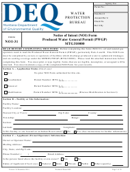 "Form NOI-31 ""Notice of Intent (Noi) Form - Produced Water General Permit (Pwgp)"" - Montana"