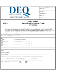 "Form NOI37 ""Notice of Intent - Suction Dredging General Permit (Mtg370000)"" - Montana"