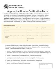 """Apprentice Hunter Certfication Form"" - Montana"