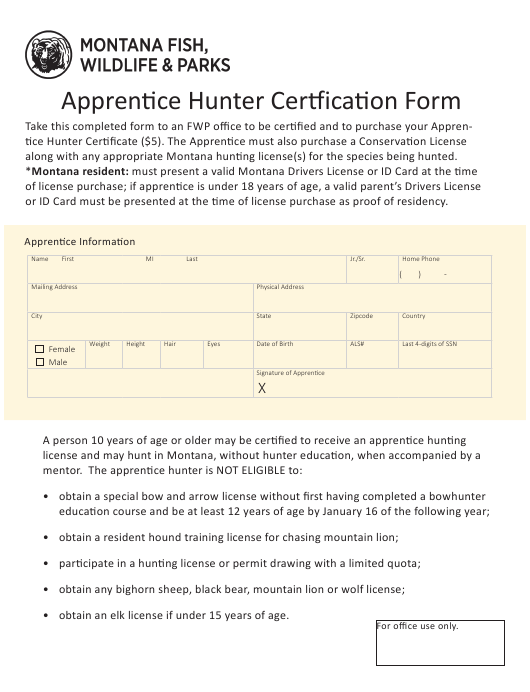 Apprentice Hunter Certfication Form Montana Download Printable PDF