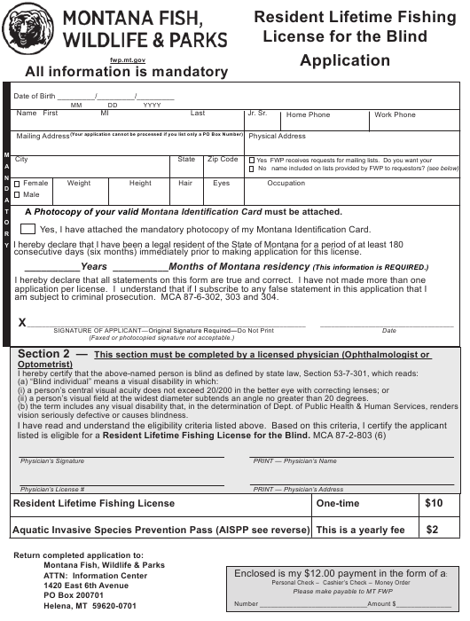 """""""Resident Lifetime Fishing License for the Blind Application Form"""" - Montana Download Pdf"""