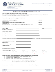 """""""Workers' Compensation Surcharge Quarterly Remittal Form"""" - Montana"""