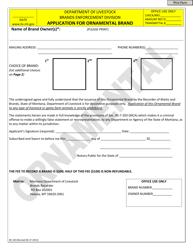 "Form BE-3/0 ""Application for Ornamental Brand"" - Montana"
