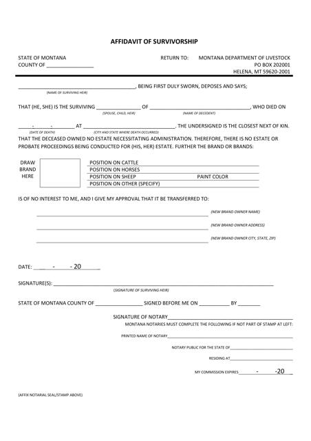 """Affidavit of Survivorship"" - Montana Download Pdf"